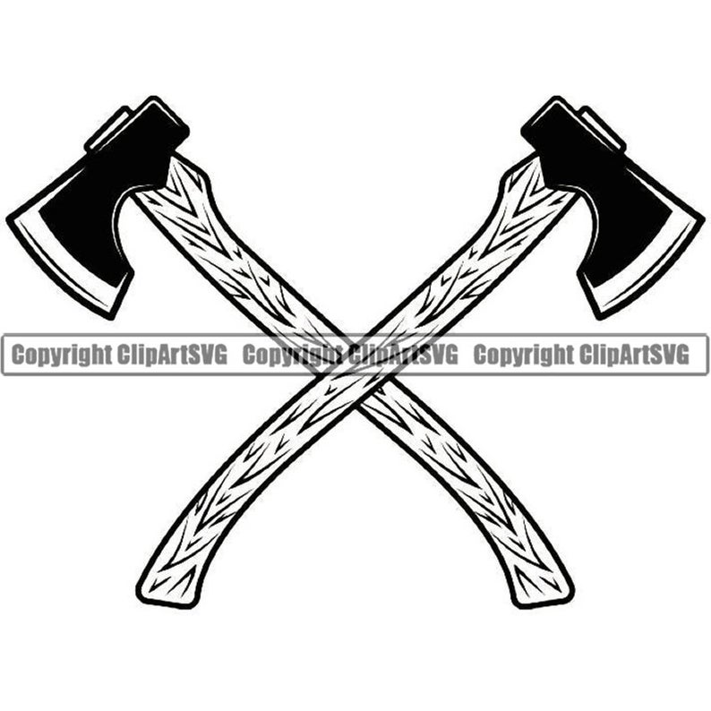 Lumberjack Logo #6 Axes Crossed Tool Chop Forrest Trees Woods Timer  Woodcutter Weapon .SVG .EPS Clipart Vector Cricut Cut Cutting Printable.