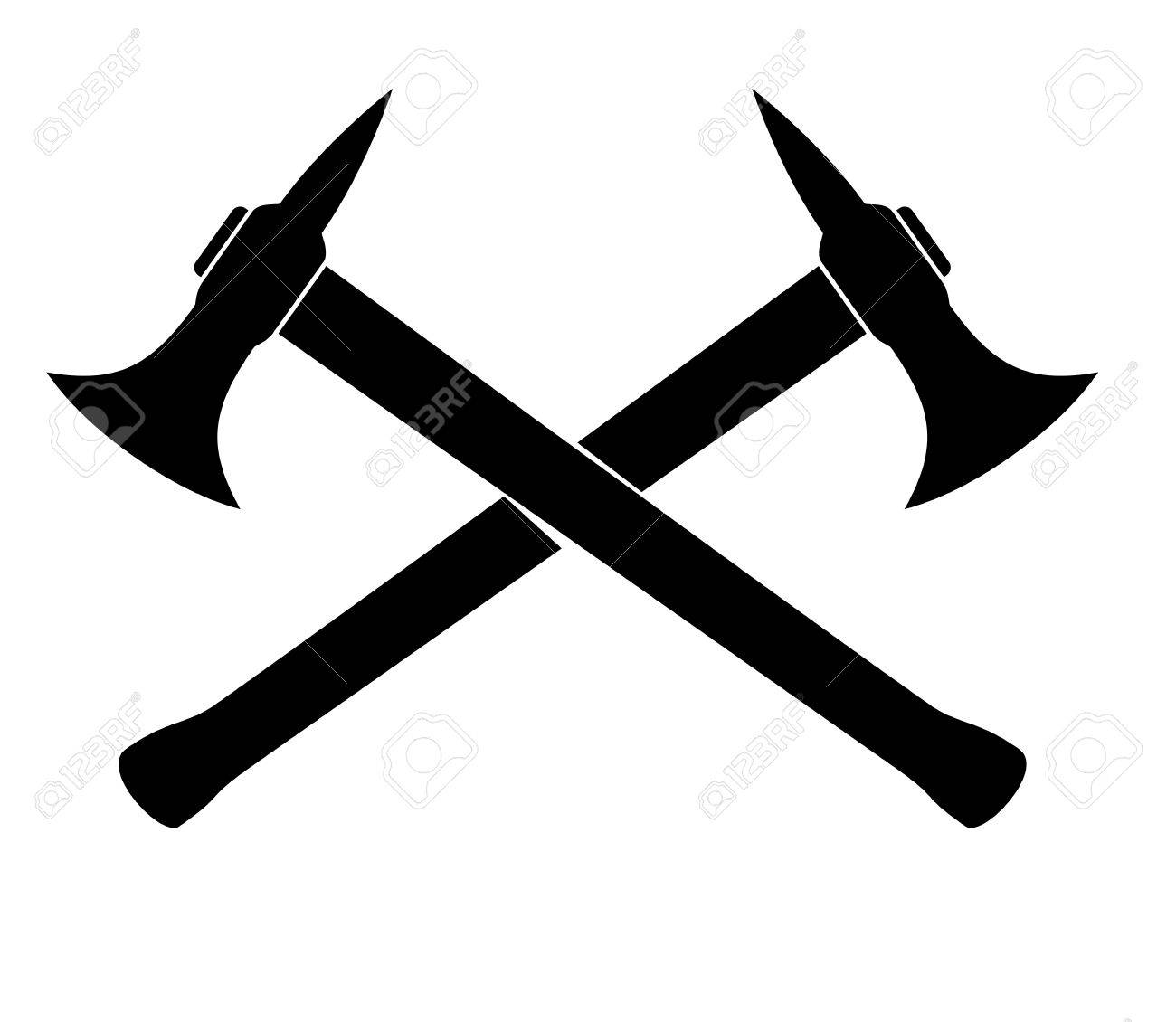 Silhouette of two crossed Axes. vector illustration.