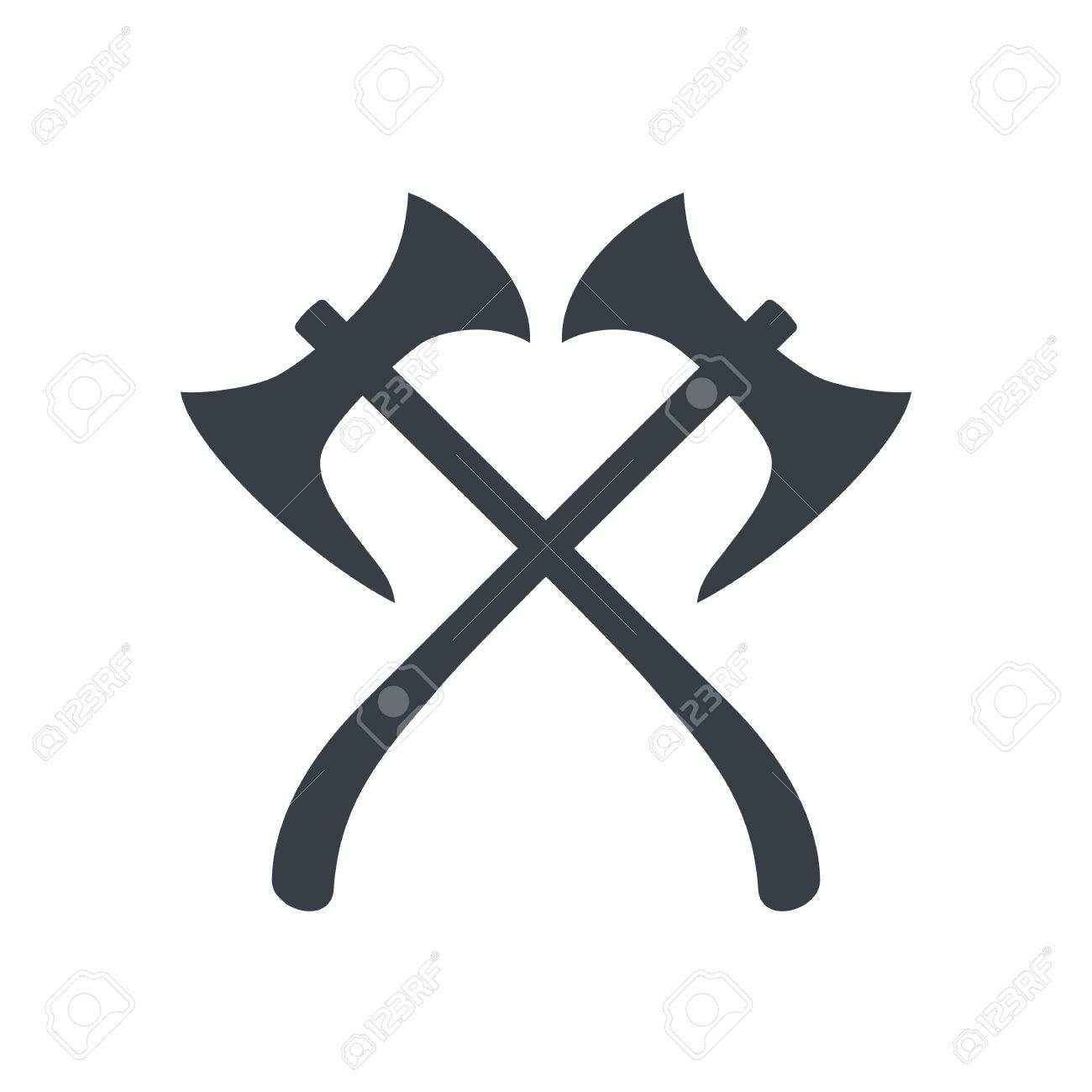 crossed axes silhouette, medieval weapons, vector illustration.