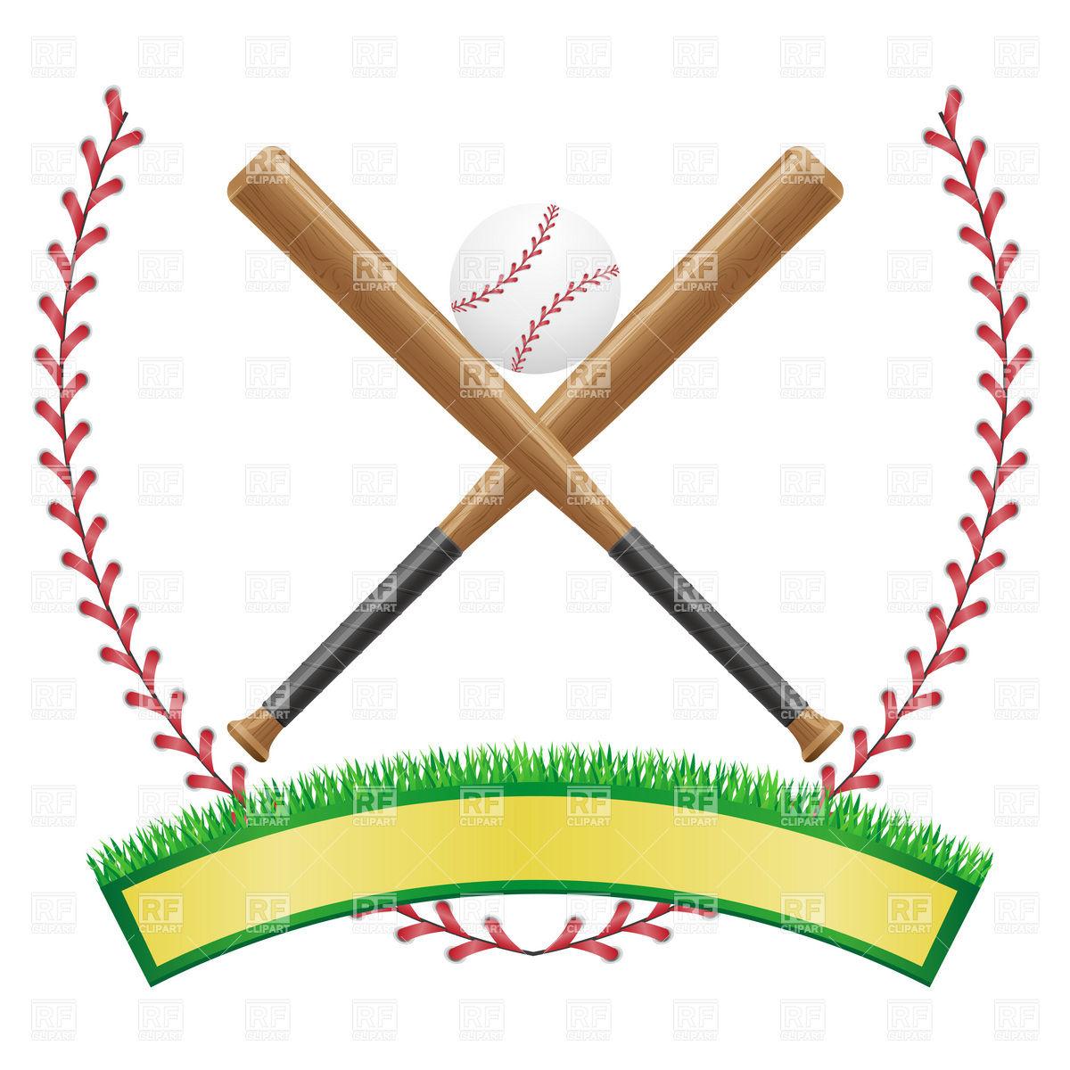 Baseball emblem with banner, ball and baseball bats Stock Vector Image.
