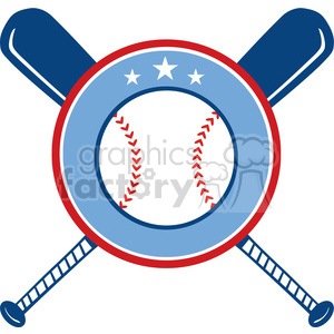 Crossed Baseball Bats And Ball Banner clipart. Royalty.