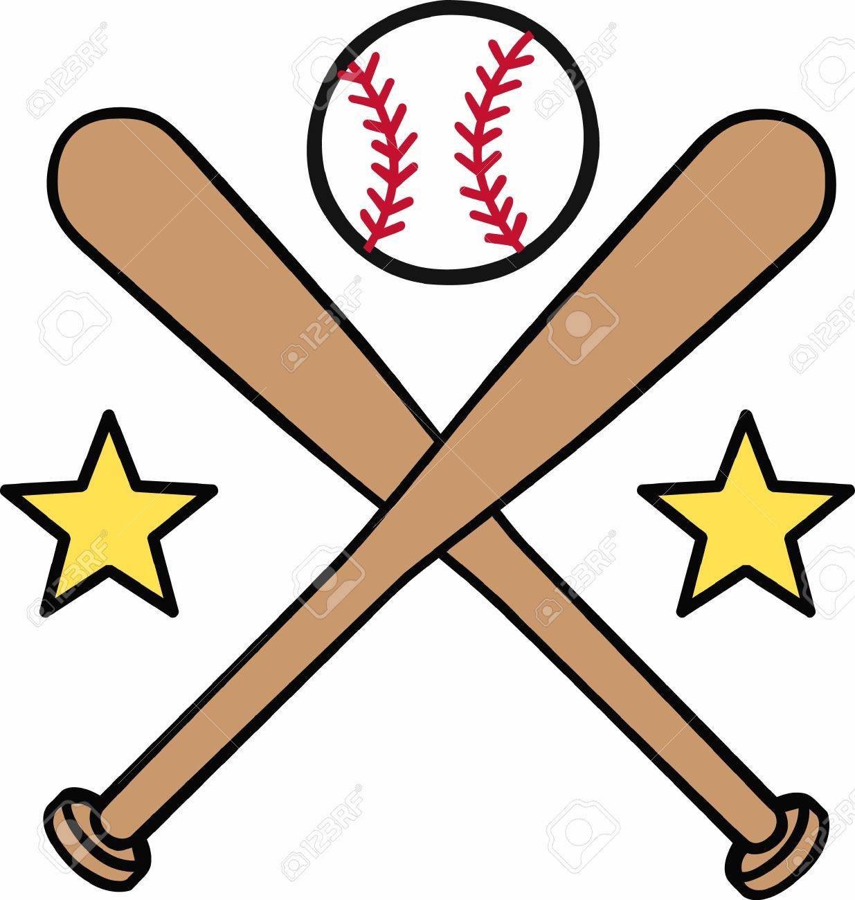 Crossed baseball bats with yellow stars and a ball on top logo..