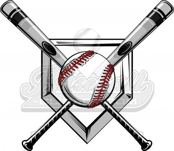 Crossed Baseball Bats Logo. Baseball Bats Image with Baseball.