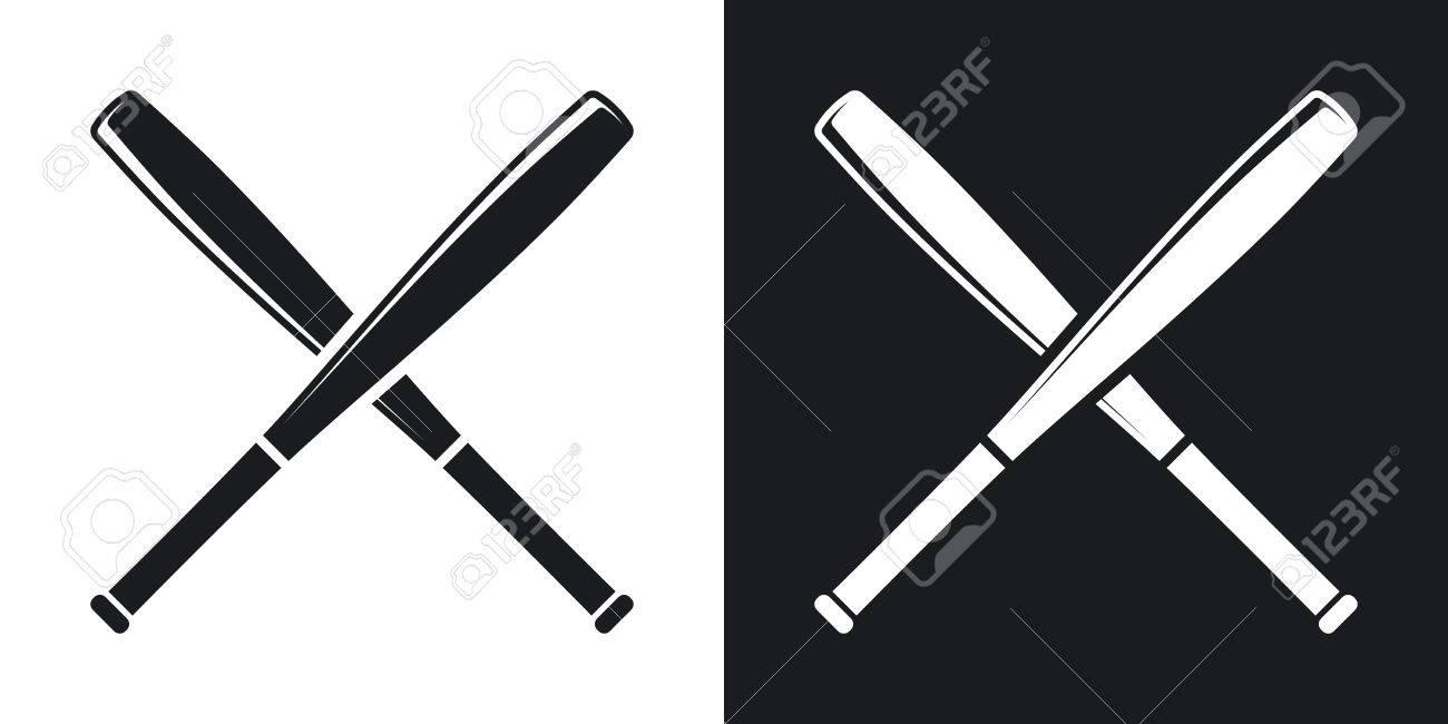 crossed baseball bats icon. Two.
