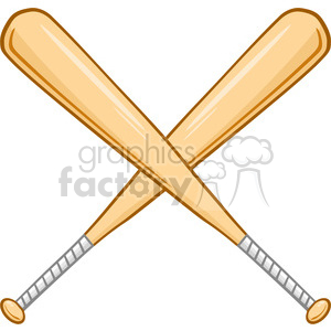 Two Crossed Baseball Bats clipart. Royalty.