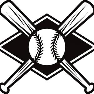 Black Baseball Diamond With A Ball And Crossed Bats.