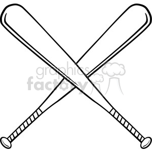 Black and White Crossed Baseball Bats clipart. Royalty.