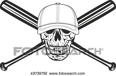 Skull and crossed bats Clipart.