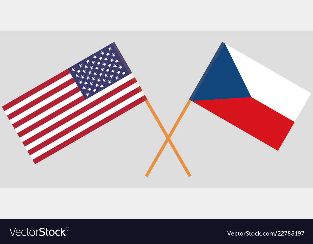 Crossed flags of czech republic and usa.