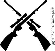Crossed Guns Clip Art.