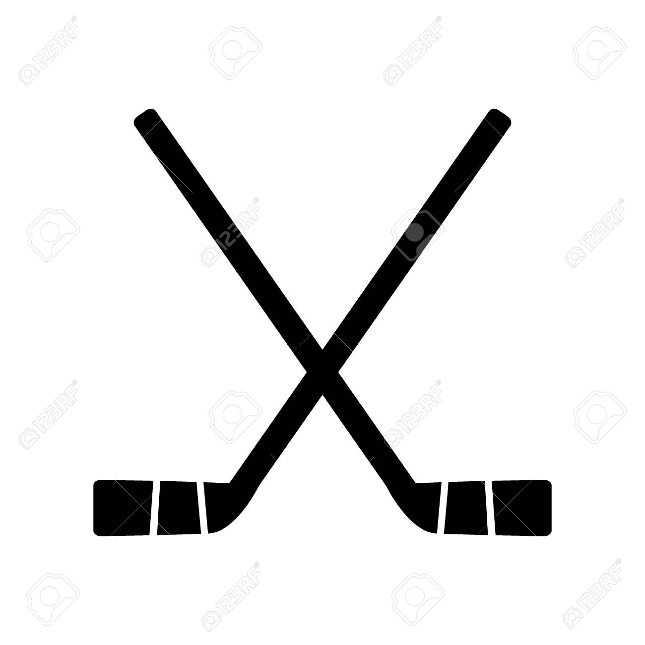 Two crossed hockey sticks on white background vector illustration..