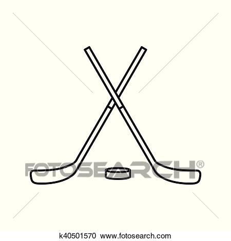 Crossed hockey sticks and puck icon, outline style Clipart.