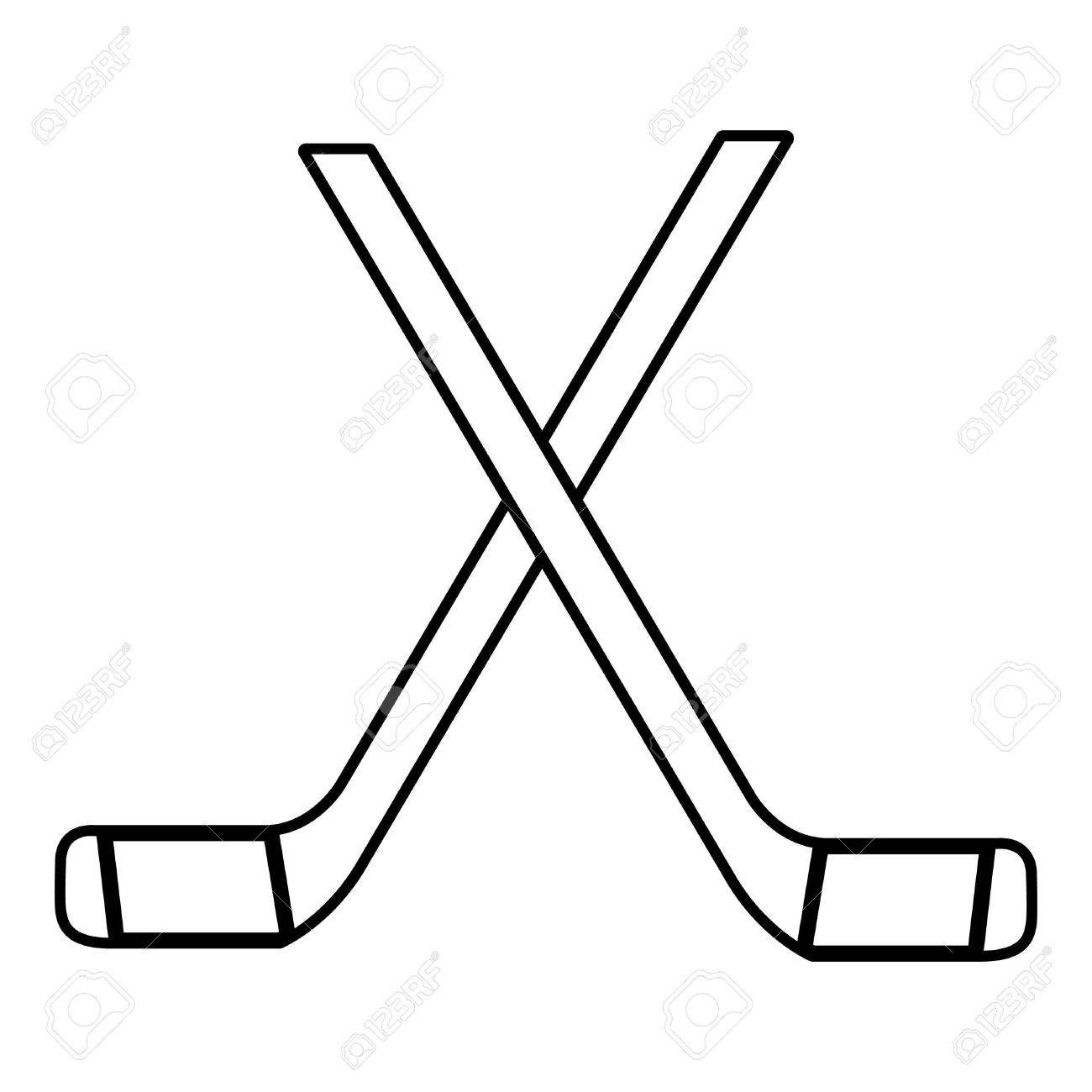 Two crossed hockey sticks icon , outline style.