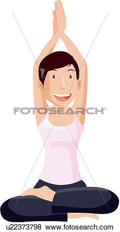 Clip Art of fitness, smiling, crossed, legs, healthiness u22373798.
