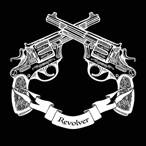 Hand Drawn Crossed Pistols With Ribbon.