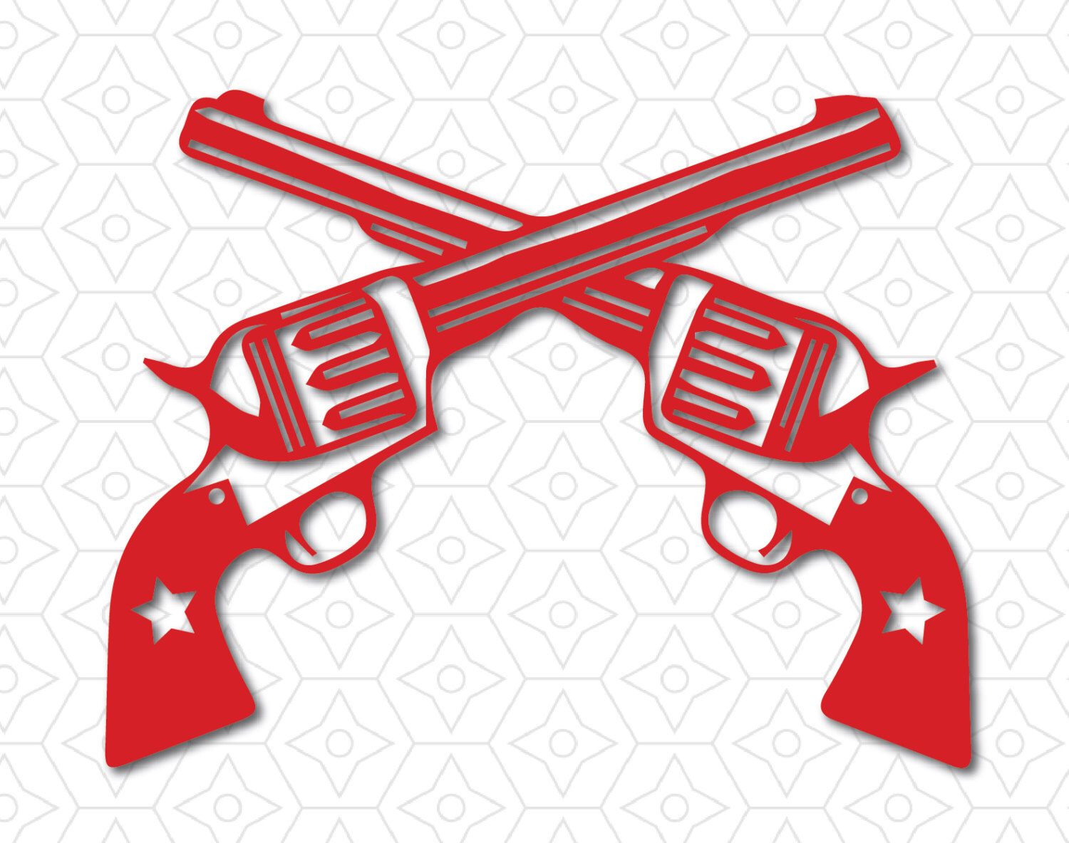 Western Revolver Guns Crossed Decal SVG DXF And AI Vector Files