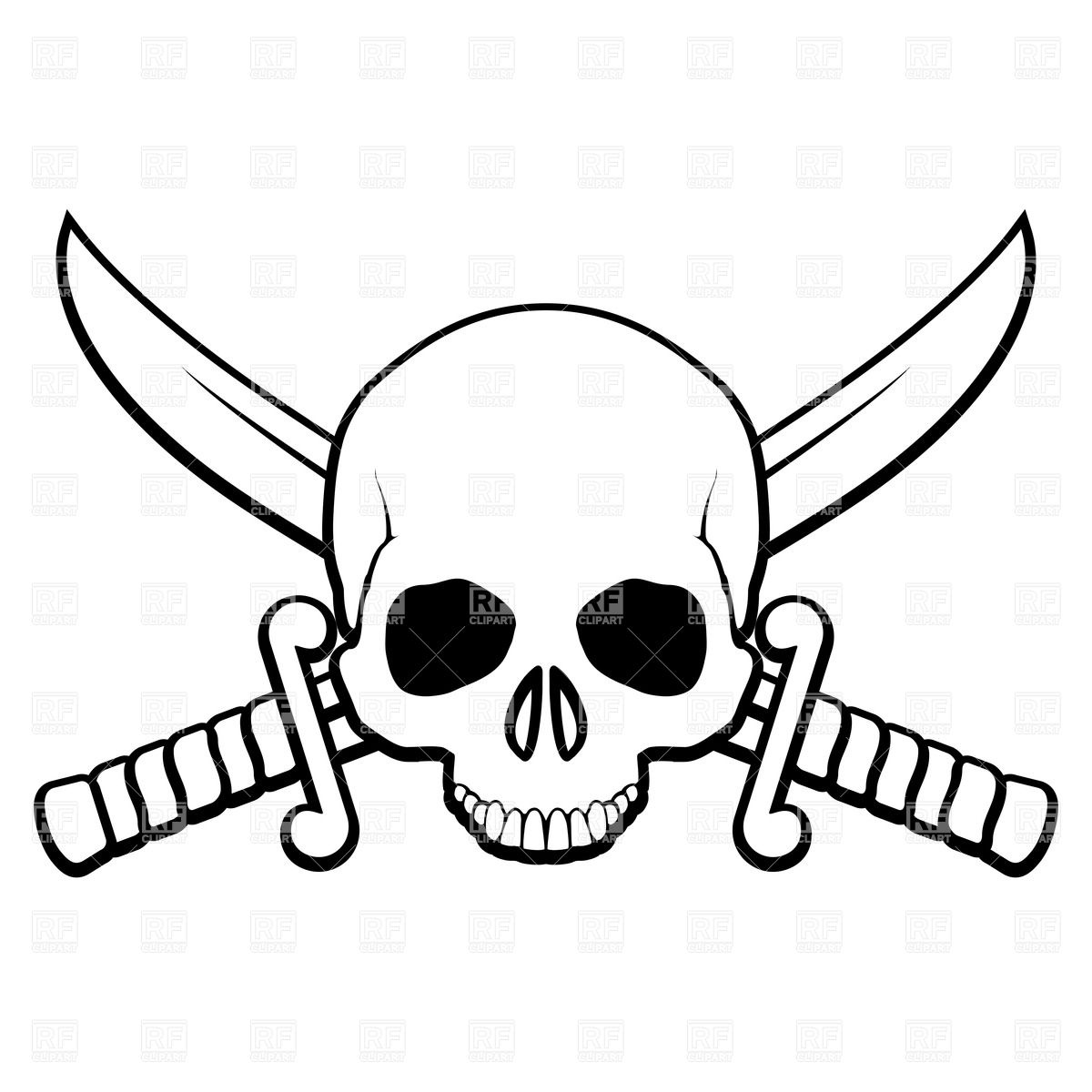 Skull with crossed sabers Stock Vector Image.