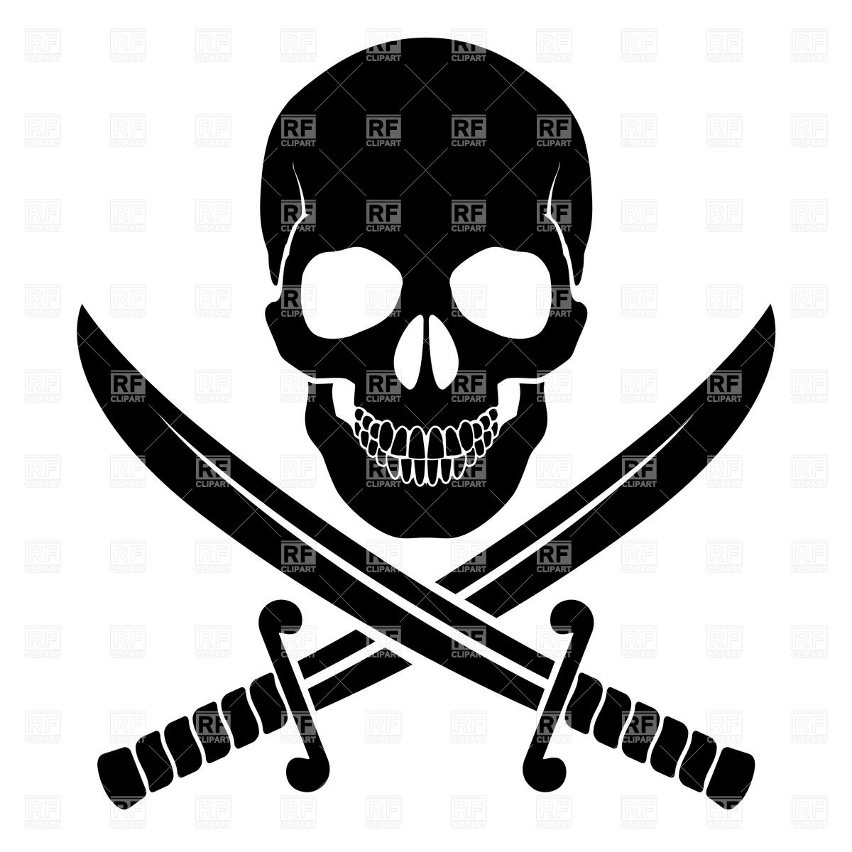 Black skull with crossed sabers Stock Vector Image.