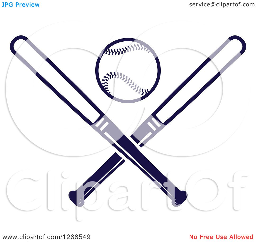 Clipart of a Navy Blue Baseball and Crossed Bats.
