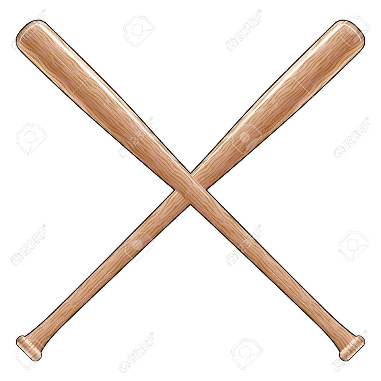 Baseball Bats is an illustration of two crossed wooden baseball...