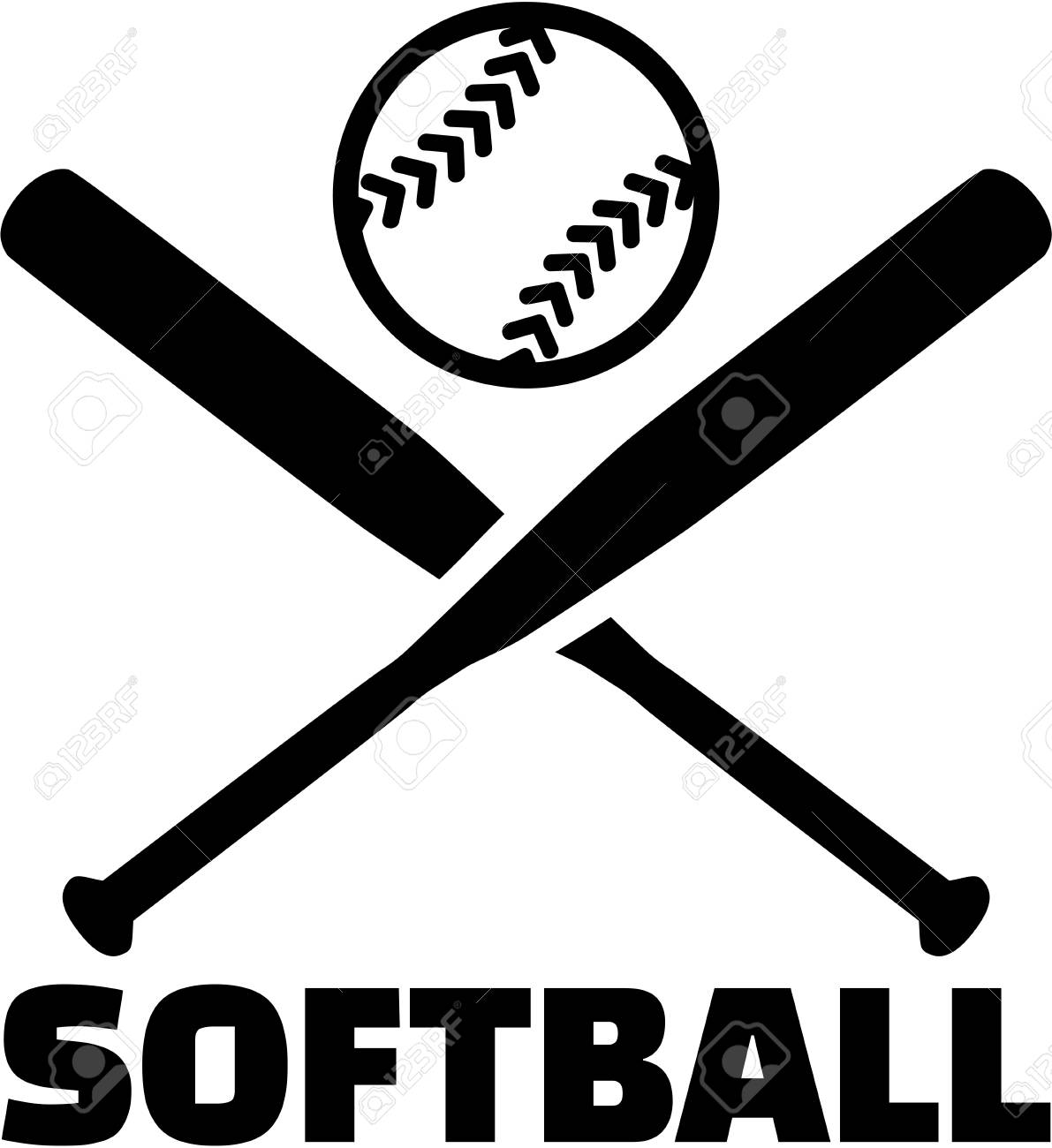 Softball with crossed bats and ball.