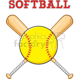 yellow softball over crossed bats logo design vector illustration with text  isolated on white background clipart. Royalty.