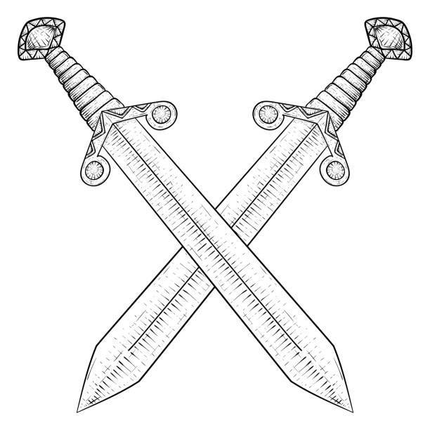 Best Crossed Swords Cartoon Illustrations, Royalty.