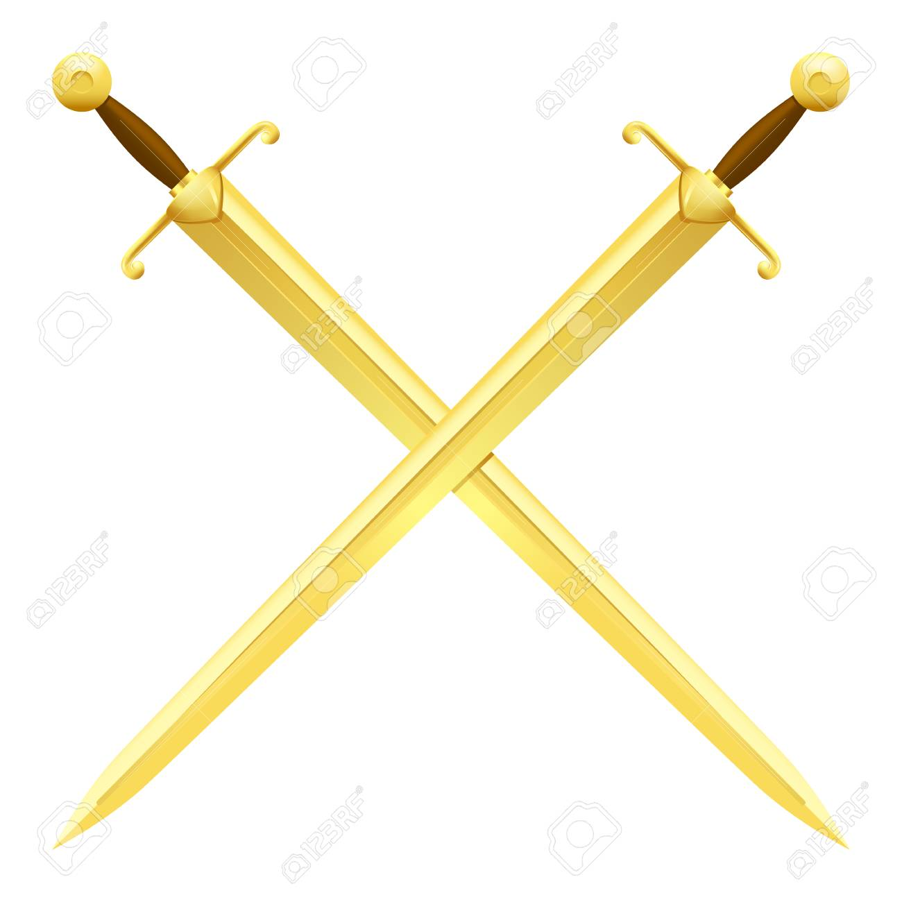 Two Crossed Swords of Gold on White Background.