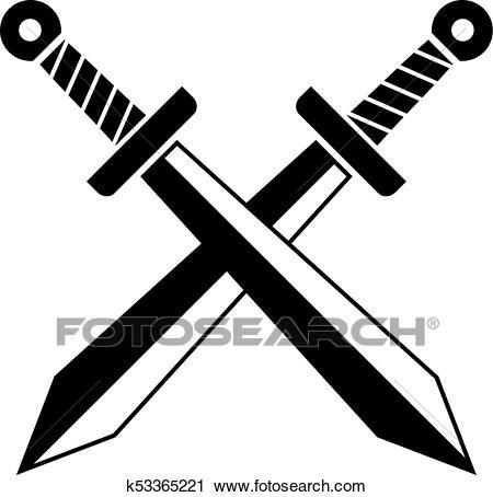 Crossed swords vector icon Clipart.