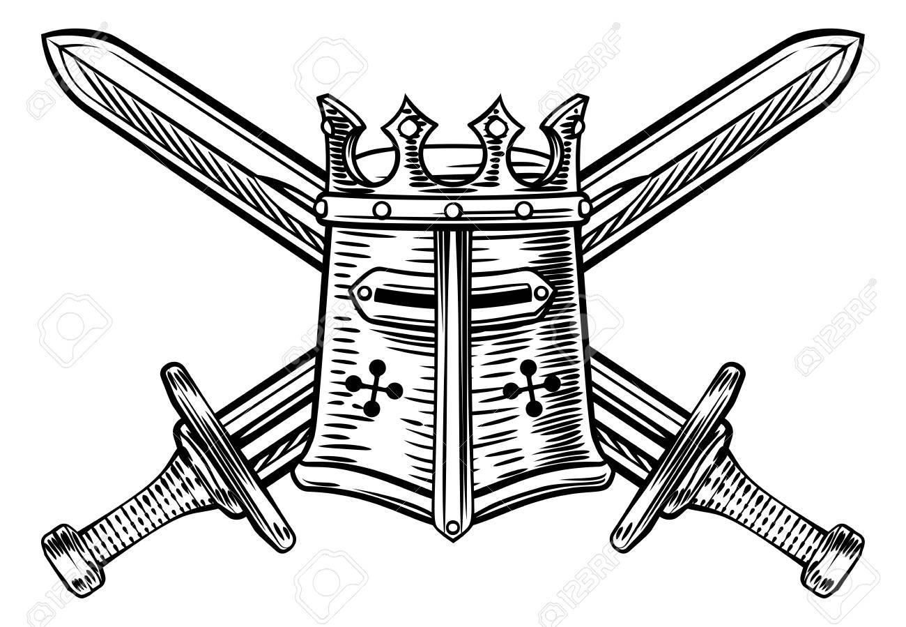 Knight Helmet and Crossed Swords Illustration.