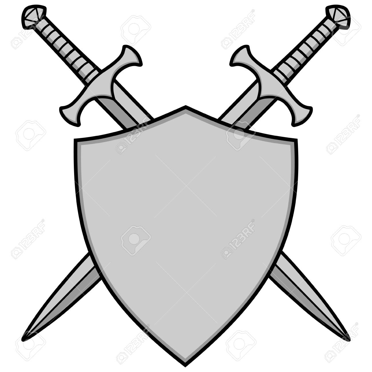 Crossed Swords and Shield Illustration..