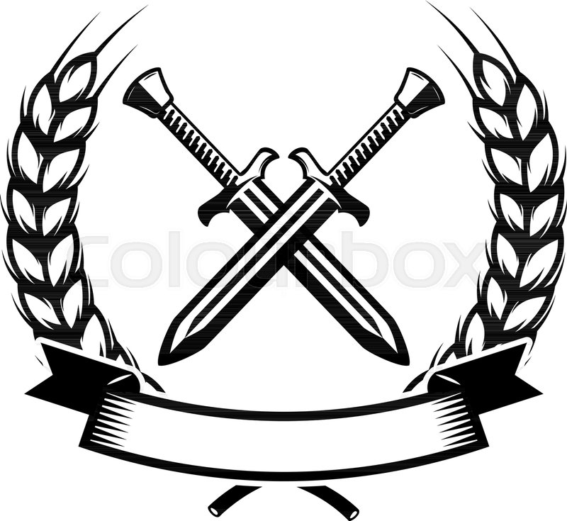 Emblem template with crossed swords..