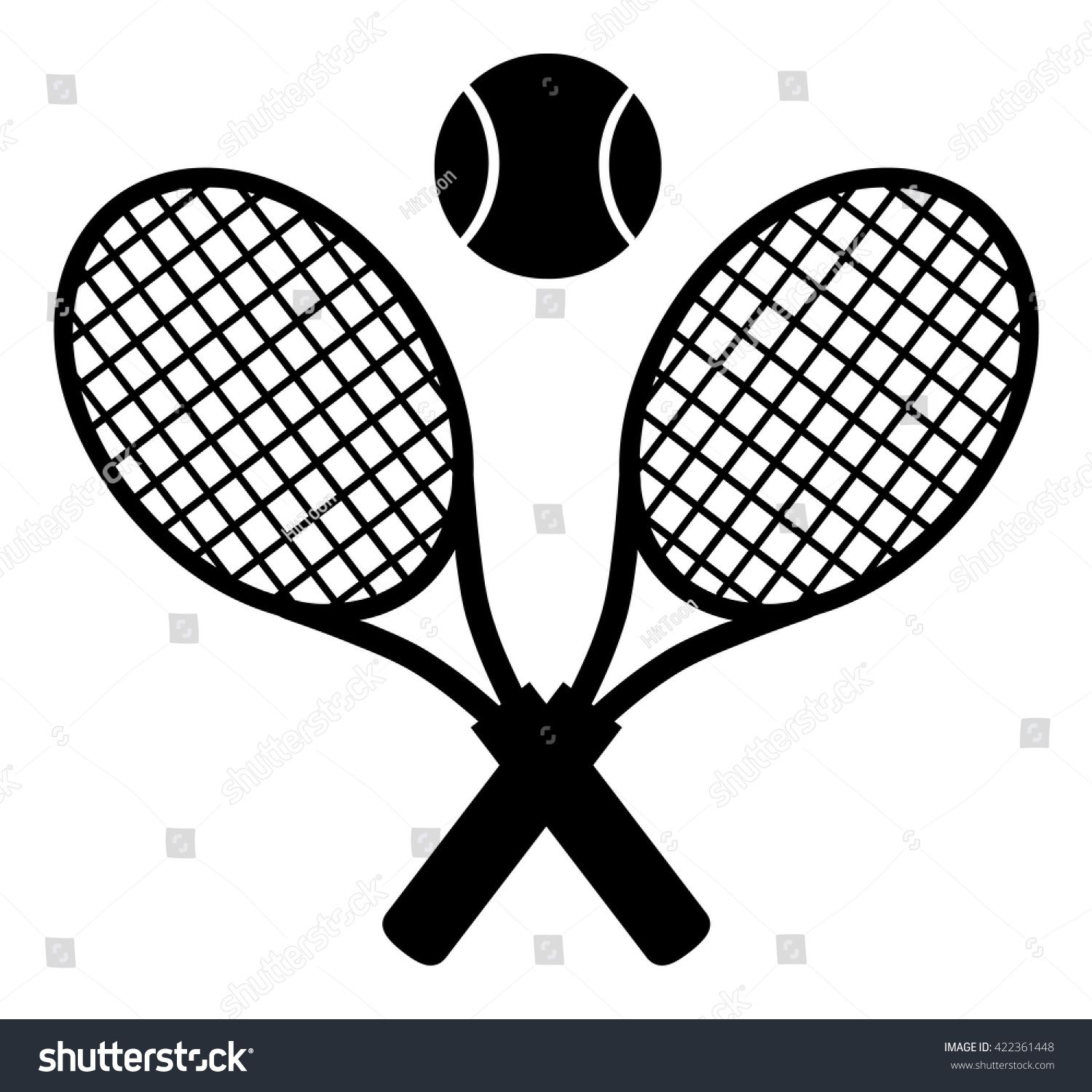 Crossed Racket And Tennis Ball Black Silhouette. Vector.