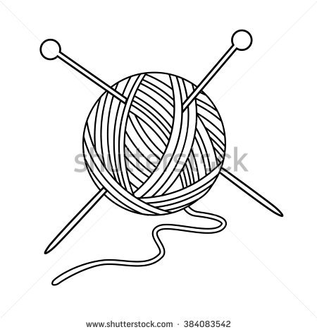 Vector Illustration Outline Drawing Yarn Ball Stock Vector.