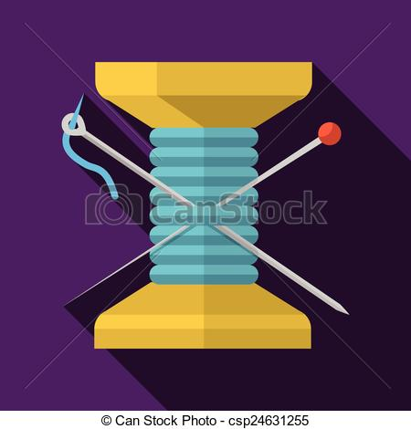 Clipart Vector of Wooden reel thread flat vector icon.