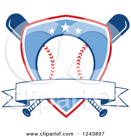 Clipart of Crossed Black and White Baseball Bats and a Ball.