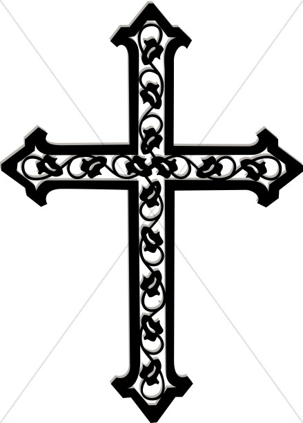 Cross with Ivy in Black and White.
