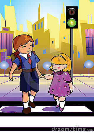 Crossing the road clipart.