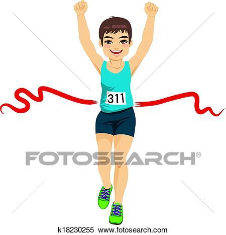 Man Crossing Finish Line Clipart.