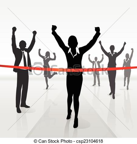 running businesswoman crossing finish line win.