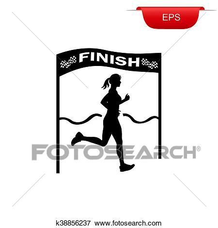 Running girl crossing finish line Clip Art.