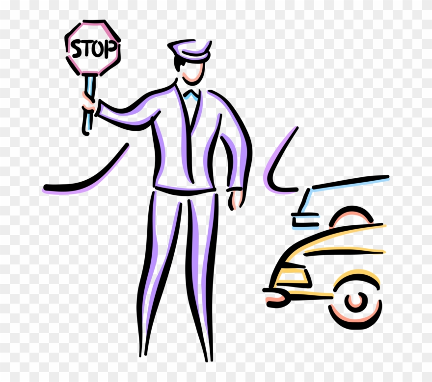 Vector Illustration Of School Crossing Guard Stops Clipart.