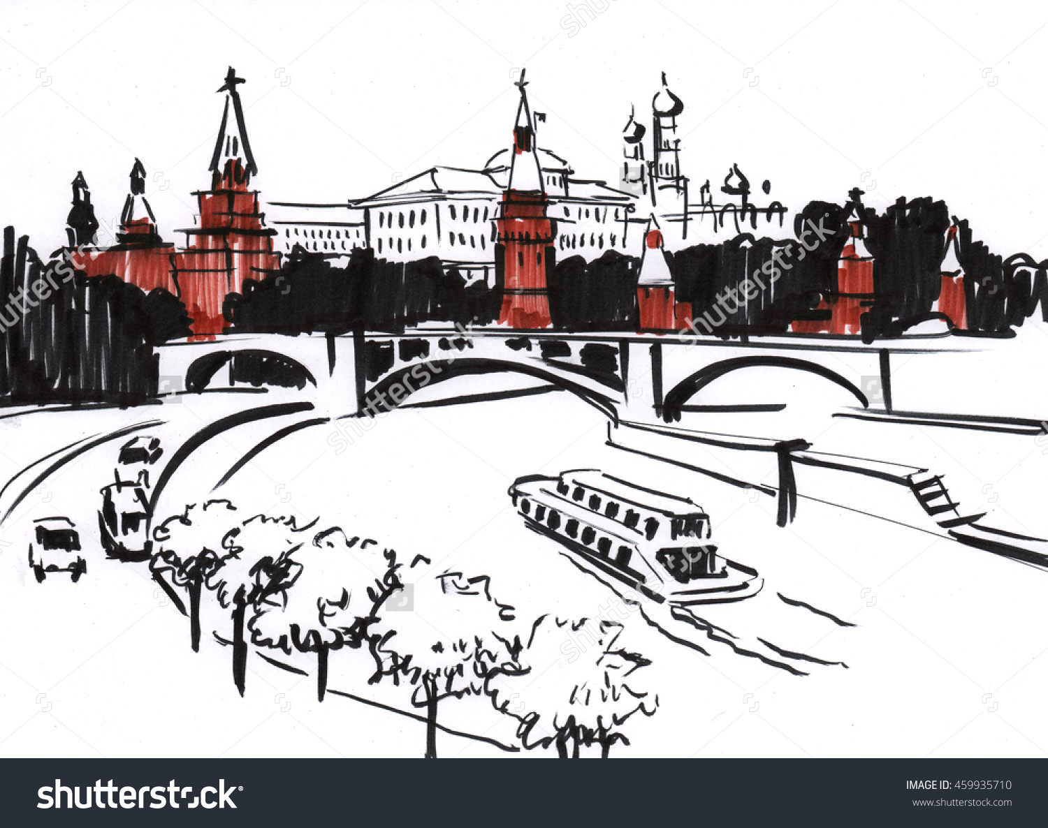 Brush Pen Drawing Center Moscow Kremlin Stock Illustration.