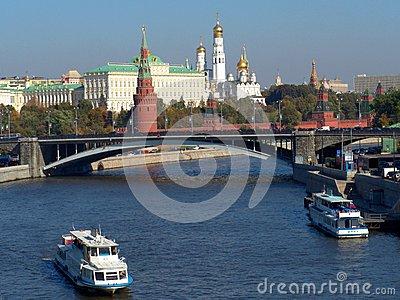 Moskva River, The Great Stone Bridge (Russia) Editorial Stock.