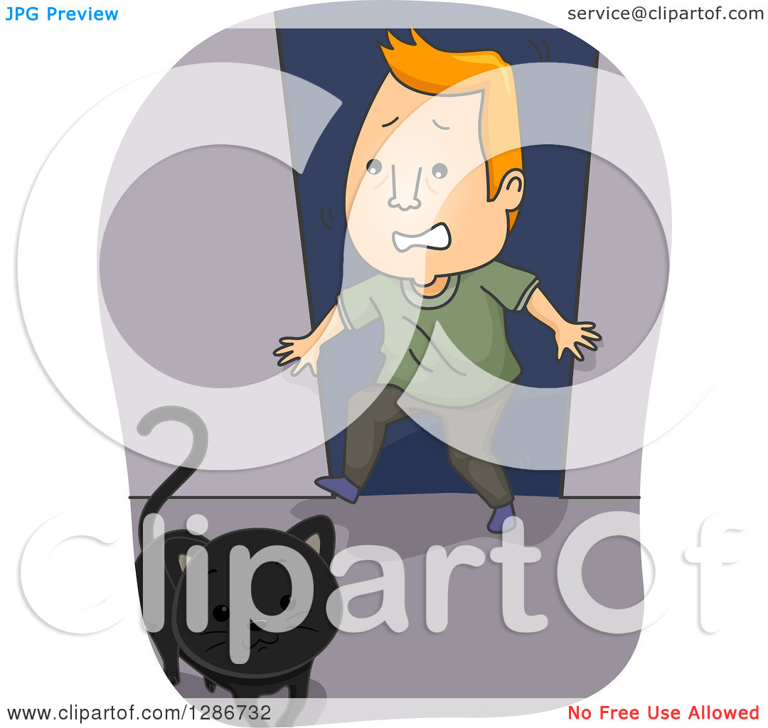 Clipart of a Black Cat Crossing a Scared Superstitious Red Haired.