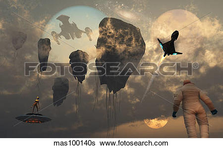 Stock Illustration of Artist's concept of mankind crossing paths.