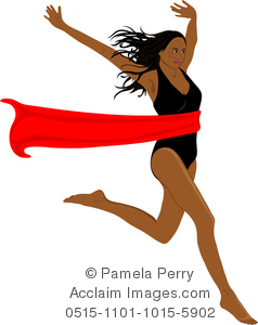 Clip Art Image of an Ethnic Woman Crossing the Red Tape at a Finish Line.