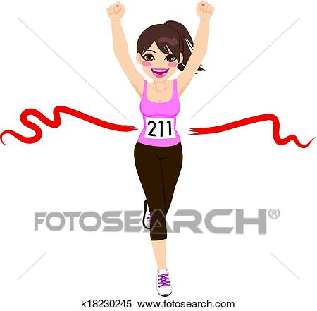 Woman Crossing Finish Line Clipart.