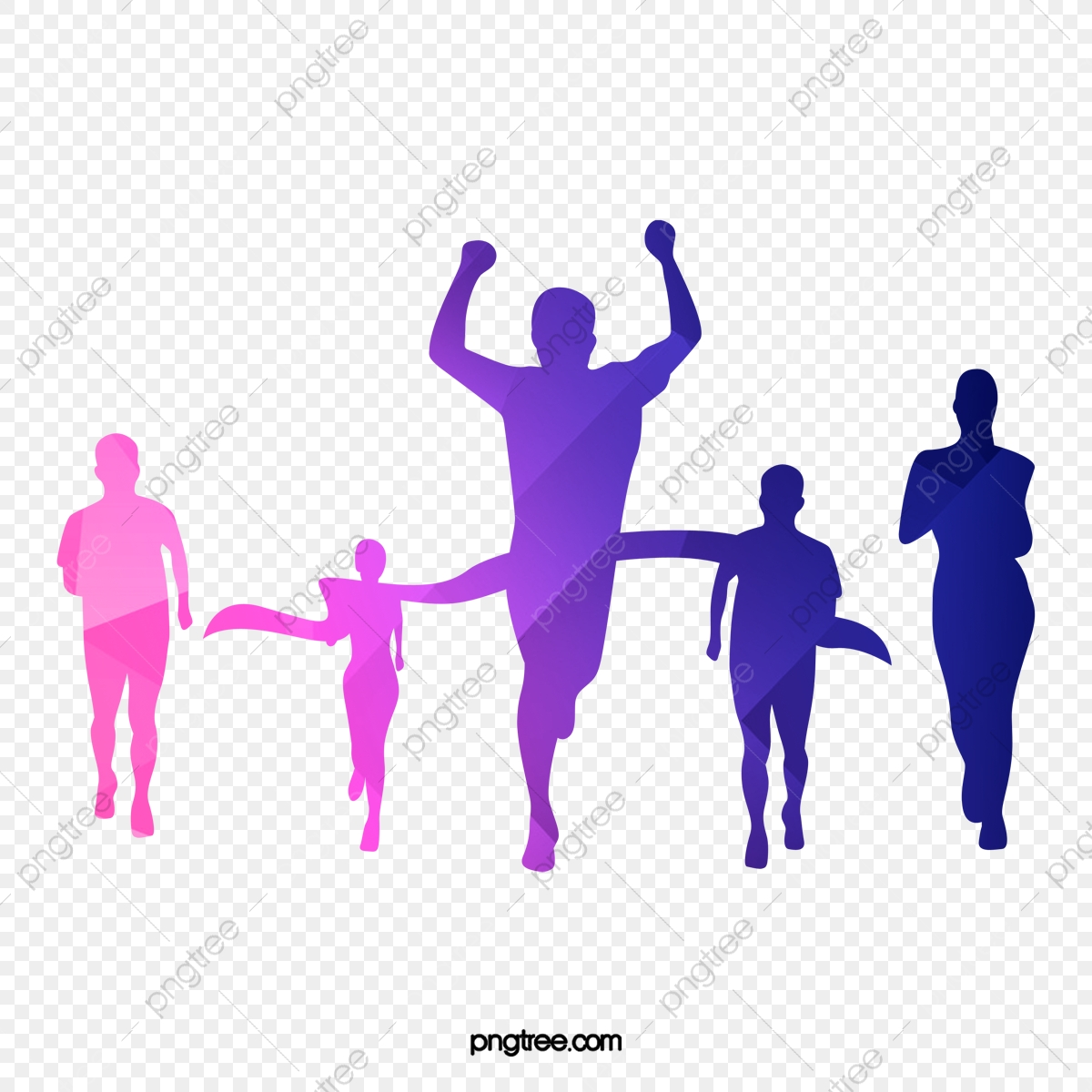People Crossing The Finish Line, People Clipart, Line Clipart.