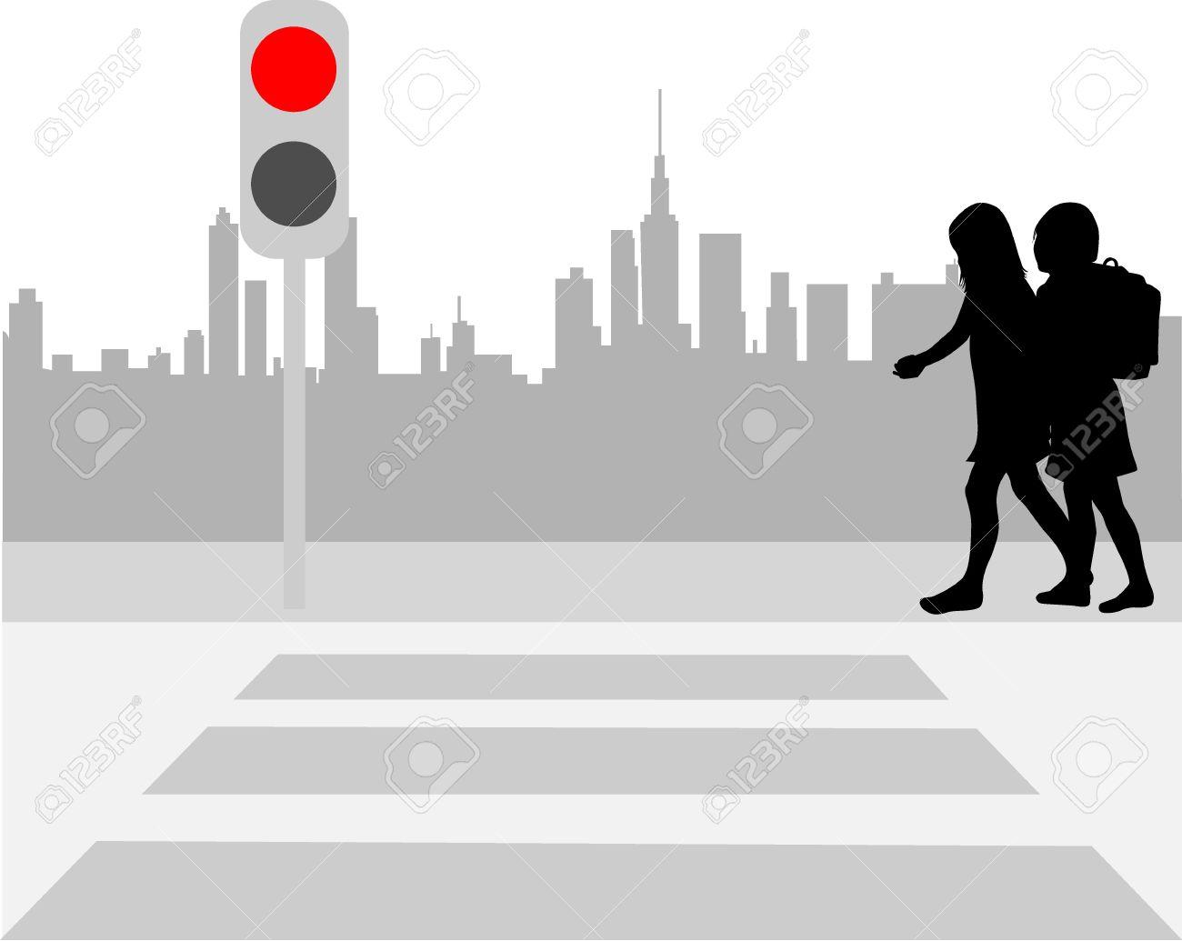 Pedestriam crossing silhouette clipart.